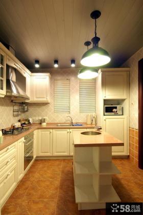 欧式田园风格开放式厨房效果图