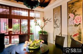 中式古典别墅餐厅飘窗装修效果图大全2014图片