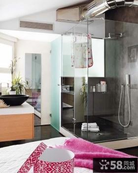 复式卫生间玻璃隔断装修效果图