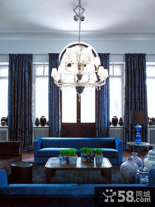 欧式蓝调客厅装修效果图大全2012图片