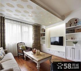 简约美式客厅电视背景墙装修效果图大全
