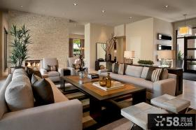 温馨豪华大气的现代风格装修效果图客厅图片