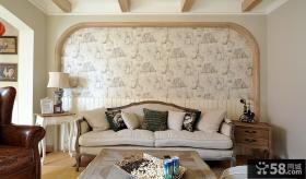 田园风格时尚客厅背景墙纸图片