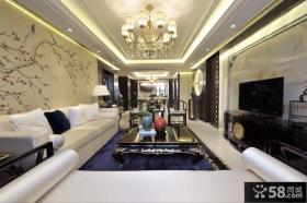 现代新古典风格客厅电视背景墙装修大全2014图片
