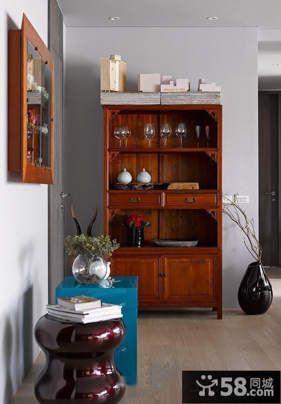 中式实木酒柜图片