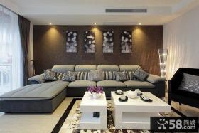现代沙发背景墙装饰画效果图