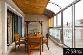 中式风格别墅阳台布置图片