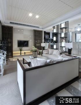 中式风格别墅客厅瓷砖电视背景墙装修效果图
