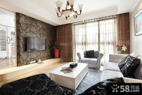 现代简欧客厅电视背景墙壁纸效果图