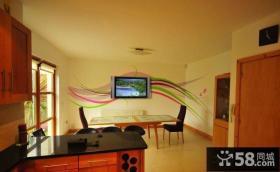 简单客厅电视背景墙手绘墙画图片