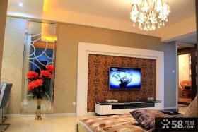 80平小户型客厅电视背景墙壁纸图片欣赏
