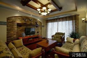 美式乡村风格客厅电视背景墙效果图图片