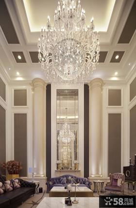 挑高客厅水晶灯大吊顶装修效果图欣赏