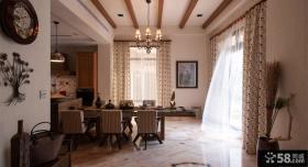 乡村美式别墅家居餐厅窗帘图欣赏