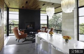 室内设计现代简约风格客厅餐厅一体化图片 餐厅吊顶装修效果图