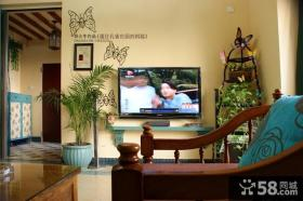 田园风格两室两厅客厅电视背景墙装修效果图