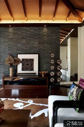 东南亚客厅仿古砖电视背景墙装修效果图