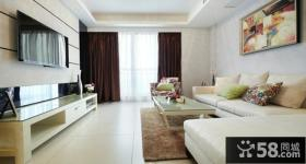 简易时尚客厅电视背景墙设计