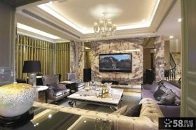 欧式豪华别墅客厅电视背景墙