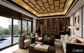 新中式风格别墅大客厅设计效果图