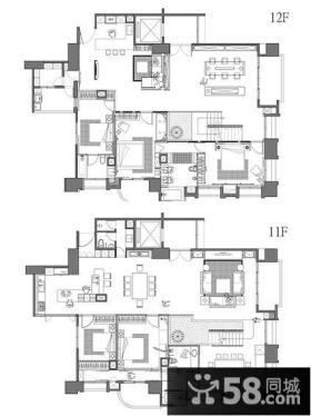 现代风格复式室内设计平面图片