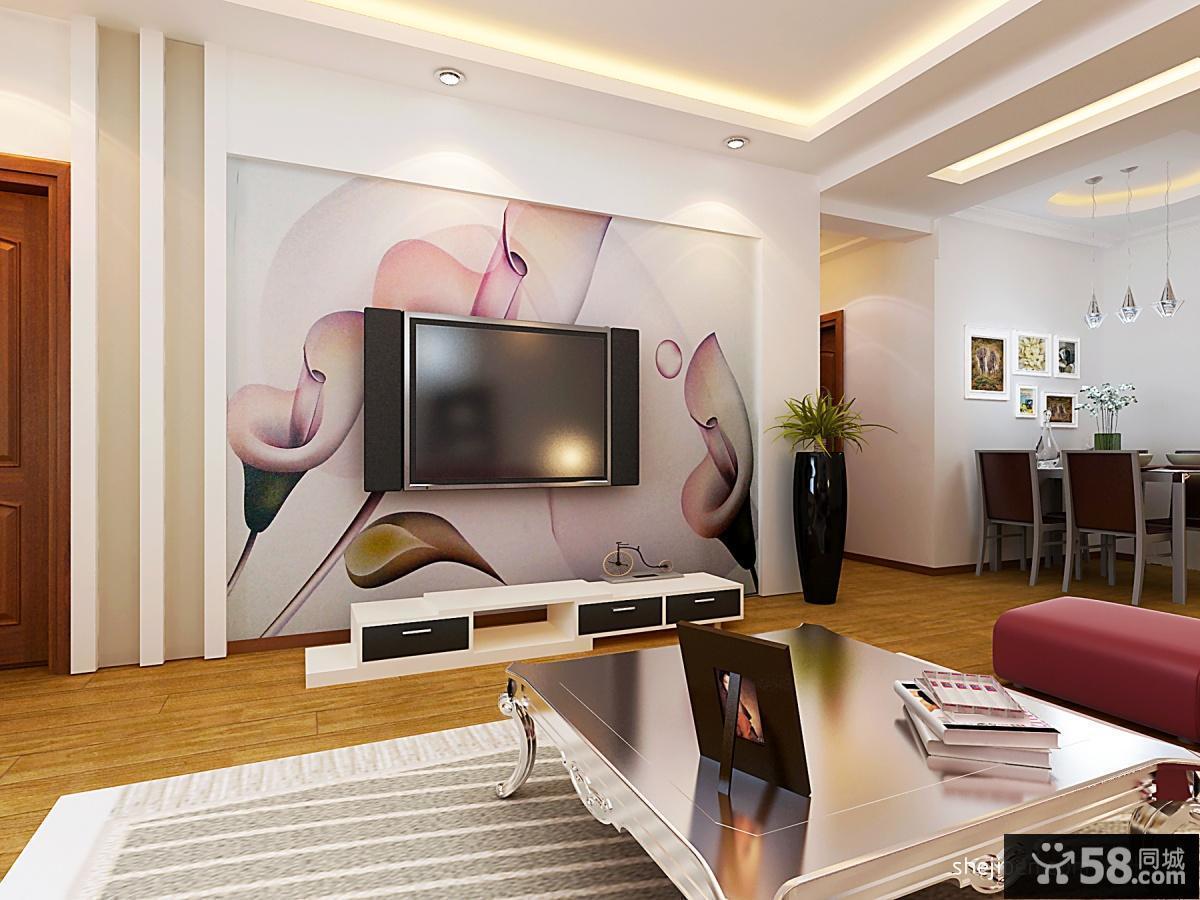 手绘客厅电视背景墙效果图