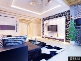 简欧客厅电视墙装修效果图片