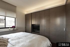 卧室衣柜电视背景墙装修效果图片