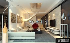 现代简约复式楼客厅吊顶装修效果图大全2012图片