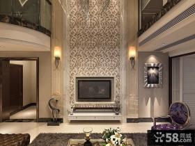 欧式别墅客厅电视背景墙效果图