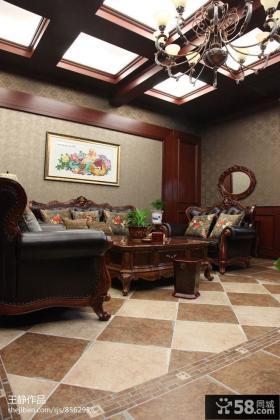 别墅室内客厅吊顶装修效果图