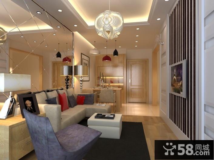 4万打造单身小户型客厅吊顶现代风格装修效果图公寓样板间