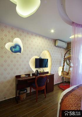 地中海风格卧室电视墙设计效果图