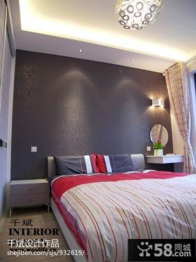 卧室床头背景墙壁纸装修效果图