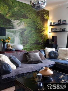 客厅沙发壁画背景墙效果图