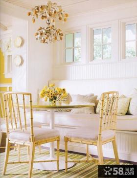 北欧小户型淡黄色清新的餐厅吊顶装修效果图