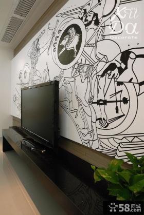 手绘电视背景墙效果图