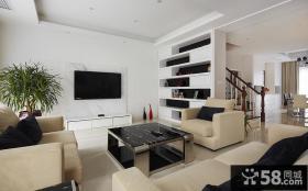 现代简约复式楼客厅装修效果图