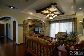 美式乡村风格客厅电视背景墙设计