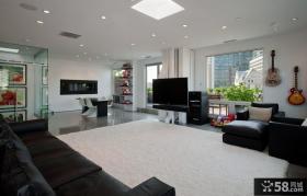 房屋复式装修效果图 现代简约客厅电视背景墙装修效果图