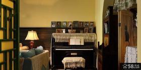 美式乡村客厅背景墙装饰设计图
