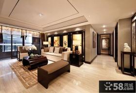 中式风格三室两厅客厅过道装修效果图