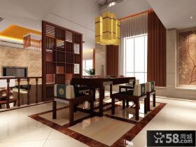 中式风格餐厅木隔断设计