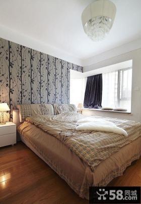 现代简约卧室床头壁纸装修效果图