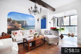 地中海风格客厅沙发背景墙效果图片