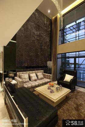 复式客厅沙发背景墙效果图