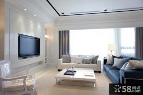 现代家庭客厅电视背景墙设计