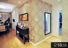美式风格室内拐角装修墙纸效果图