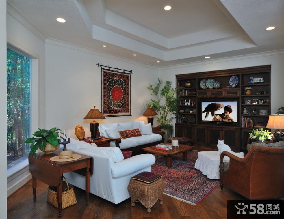 简欧风格客厅天花板装修效果图图片
