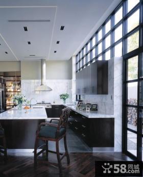 现代黑色调厨房装修效果图大全2012图片